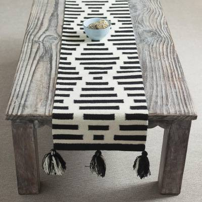 Wool table runner, 'Diamond Illusion' - Diamond Motif Wool Table Runner in Black and Antique White