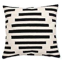 Wool cushion cover, 'Diamond Illusion'