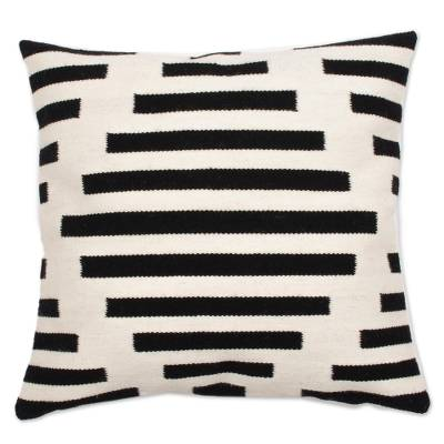 Wool cushion cover, 'Diamond Illusion' - Diamond Motif Wool Cushion Cover in Black and Antique White