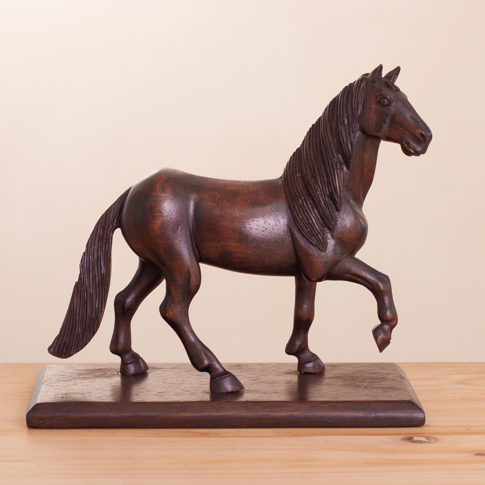 Hand Carved Cedar Wood Horse Sculpture From Peru Peruvian Horse Novica