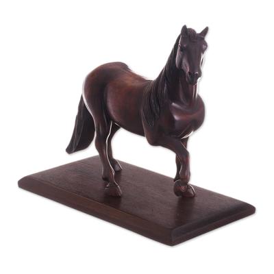 Hand-Carved Cedar Wood Horse Sculpture from Peru