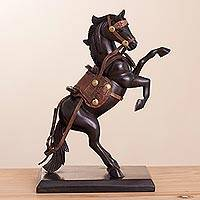 Wood and leather sculpture, 'Maximum Elegance' - Hand-Carved Wood and Leather Horse Sculpture from Peru