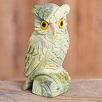 Serpentine and rose quartz gemstone sculpture, 'Green Owl' - Serpentine and Rose Quartz Gemstone Owl Sculpture from Peru