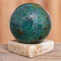 Chrysocolla and jasper gemstone sculpture, 'Blue-Green World' - Modern Chrysocolla and Jasper Gemstone Figurine from Peru