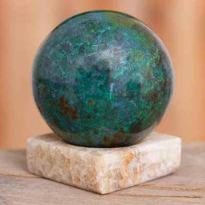 Chrysocolla and jasper gemstone sculpture, Blue-Green World