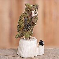 Gemstone sculpture, 'Verdant Owl' - Gemstone Owl Sculpture in Green from Peru