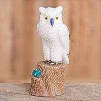 Gemstone sculpture, 'White Owl' - Gemstone Owl Sculpture in White from Peru