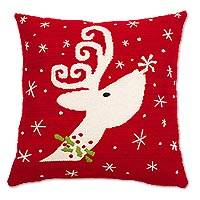 Wool cushion cover, 'Christmas Reindeer' - Reindeer-Themed Wool Cushion Cover from Peru