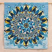 Wool tapestry, 'Blue Mandala' - Handwoven Wool Mandala Tapestry in Blue from Peru