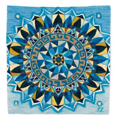 Handwoven Wool Mandala Tapestry in Blue from Peru