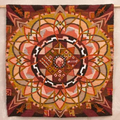 Wool tapestry, 'Inca Mandala' - Handwoven Wool Mandala Tapestry in Brown from Peru