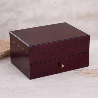 Reclaimed wood jewelry box, 'Minimalist Style' - Handcrafted Reclaimed Wood Jewelry Box from Peru