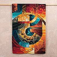 Alpaca blend tapestry, 'Andean Cosmovision' - Handwoven Multicolored Alpaca Blend Tapestry from Peru