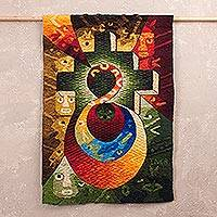 Alpaca blend tapestry, 'Vision of the Harvest' - Handwoven Alpaca Blend Cosmovision Tapestry from Peru