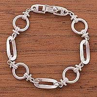 Sterling silver link bracelet, 'Marvelous Links' - Sterling Silver Link Bracelet from Peru