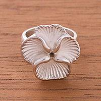 Sterling silver cocktail ring, 'Magnificent Orchid' - Sterling Silver Orchid Flower Cocktail Ring from Peru