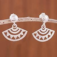 Sterling silver dangle earrings, 'Mascapaicha' - Pre-Hispanic Sterling Silver Dangle Earrings from Peru