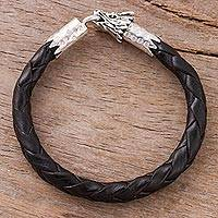 Men's leather braided bracelet, 'Mythical Dragon in Black' - Men's Dragon-Themed Leather Braided Bracelet in Black