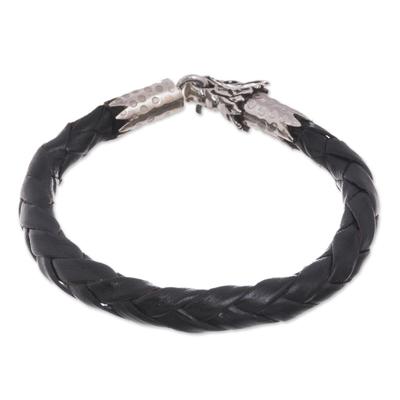 Men's leather braided bracelet, 'Mythical Dragon in Black' - Men's Dragon-Themed Leather Braided Bracelet in Black