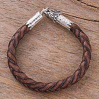 Men's leather braided bracelet, 'Mythical Dragon in Brown'