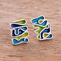 Sterling silver button earrings, 'Fun and Modern' - Modern Sterling Silver and Resin Button Earrings from Peru