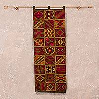 Wool tapestry, 'Incan Calendar' - Geometric Wool Tapestry Handwoven in Peru