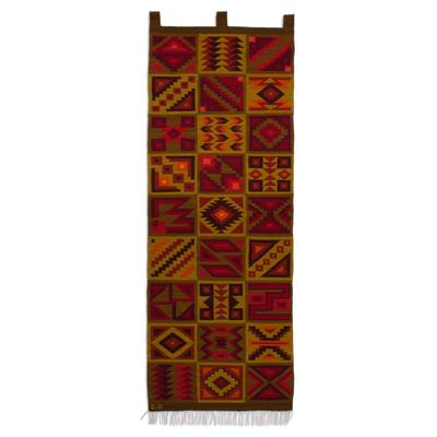 Geometric Wool Tapestry Handwoven in Peru
