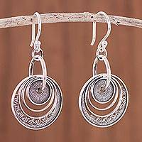 Sterling silver filigree dangle earrings, 'Dark Parallel Worlds' - Dark Circular Sterling Silver Filigree Dangle Earrings