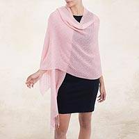 100% baby alpaca shawl, 'Feminine Pattern in Blush' - 100% Baby Alpaca Shawl in Blush from Peru