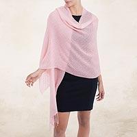 100% baby alpaca shawl, 'Feminine Pattern in Blush' - 100% Baby Alpaca Shawl in Blush from Peru