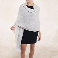 100% baby alpaca shawl, 'Feminine Pattern in Dove Grey' - 100% Baby Alpaca Shawl in Dove Grey from Peru