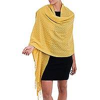 Featured review for 100% baby alpaca shawl, Feminine Pattern in Maize