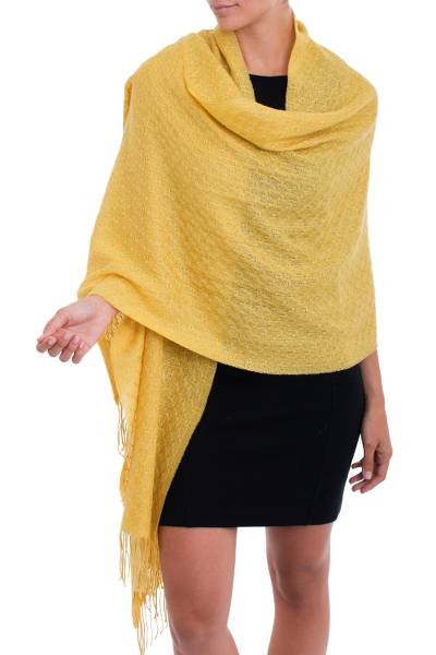 100% baby alpaca shawl, 'Feminine Pattern in Maize' - 100% Baby Alpaca Shawl in Maize from Peru