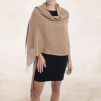 100% baby alpaca shawl, 'Feminine Pattern in Tan' - 100% Baby Alpaca Shawl in Tan from Peru