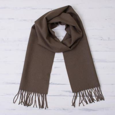 100% baby alpaca scarf, 'Chestnut Warmth' - 100% Baby Alpaca Scarf in Chestnut from Peru