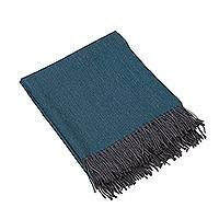 100% baby alpaca throw, 'Fascinating Teal' - 100% Baby Alpaca Throw in Teal from Peru