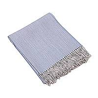 100% baby alpaca throw, 'Sky Blue Comfort' - 100% Baby Alpaca Throw in Sky Blue from Peru