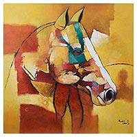 'Colorful Horse' - Signed Modern Painting of a Horse from Peru