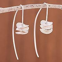 Sterling silver drop earrings, 'Wavy Discs' - Modern Sterling Silver Drop Earrings from Peru