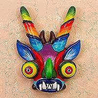 Ceramic mask, 'Striking Devil' - Handcrafted Ceramic Devil Mask from Peru