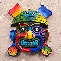 Ceramic mask, 'Ai Apaec' - Handcrafted Ceramic Wall Mask of Ai Apaec from Peru