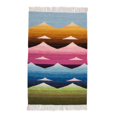 Mountain Motif Wool Area Rug from Peru (2x3)