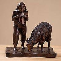 Wood sculpture, 'Andean Shepherd' - Andean Shepherd and Llama Hand Carved Cedar Wood Sculpture