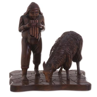 Wood sculpture, 'Andean Shepherd' - Andean Shepherd and Llama Hand Carved Cedar Wood Sculpture