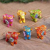 Ceramic ornaments, 'Torito de Pucara' (set of 6) - Hand-Painted Ceramic Bull Ornaments from Peru (Set of 6)
