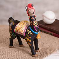 Ceramic sculpture, 'Charming Llama' - Hand-Painted Ceramic Llama Sculpture from Peru