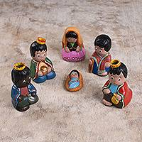 Ceramic nativity scene, 'Splendid Nativity' (set of 6) - Handcrafted Ceramic Nativity Scene from Peru (Set of 6)