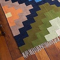 Wool area rug, 'Chakana Colors' (4x6) - Handwoven Geometric Wool Area Rug from Peru (4x6)