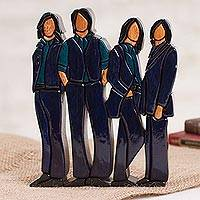 Wood sculpture, 'Blue Quartet' - Handcrafted Wood Sculpture of Quartet Singers from Peru
