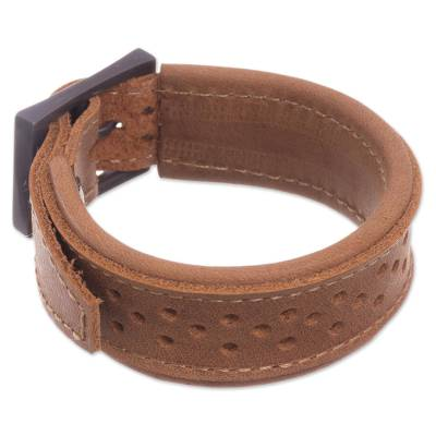 Leather Wristband Bracelet in Sepia from Peru
